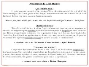 0. Présentation du Club Théâtre