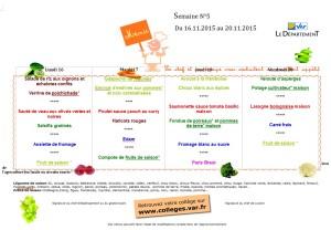 menu du 16/11 au 20/11